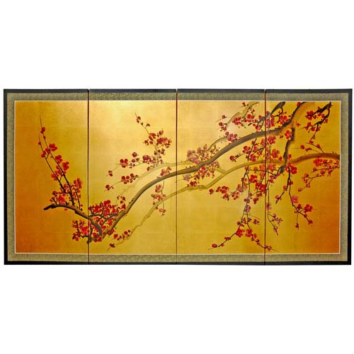 Plum Tree on Gold Leaf - 36 Inch