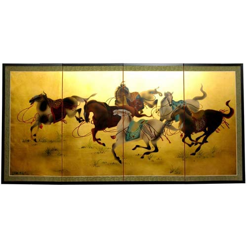 Riders in the Storm on Gold Leaf Silk Screen