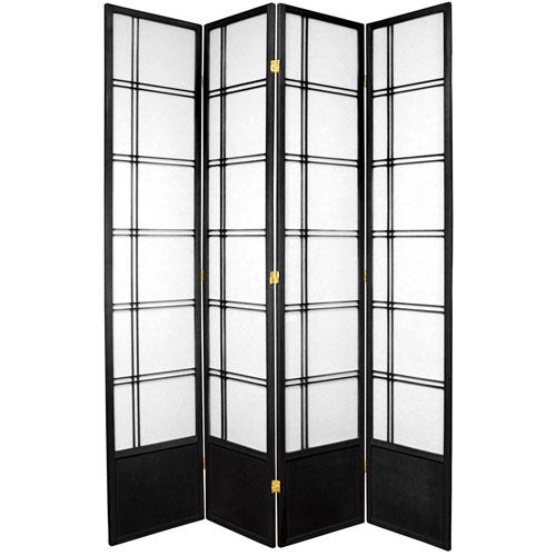 Oriental Furniture 7 Foot Tall Double Cross Shoji Screen Black 4