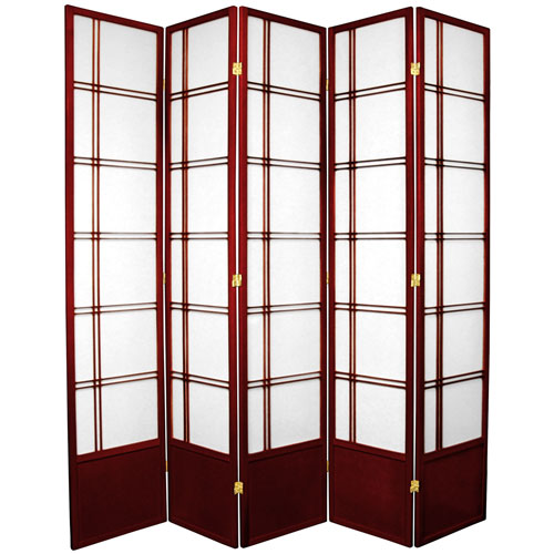 7-Foot Tall Double Cross Shoji Screen - Rosewood - 5 Panels