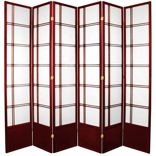 7-Foot Tall Double Cross Shoji Screen - Rosewood - 6 Panels
