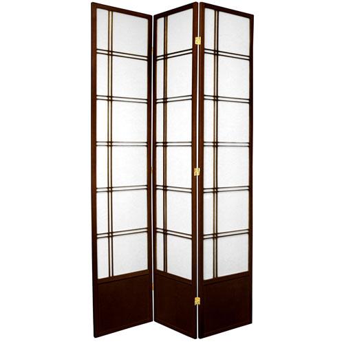 7-Foot Tall Double Cross Shoji Screen - Walnut - 3 Panels