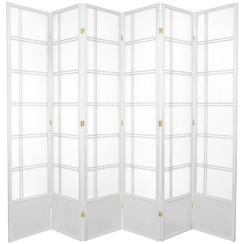 7-Foot Tall Double Cross Shoji Screen - White - 6 Panels