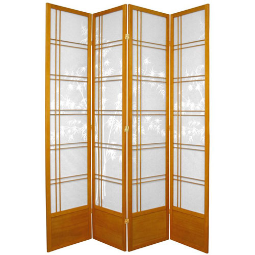 Seven Ft. Tall Bamboo Tree Shoji Screen - Honey Four Panel, Width - 70 Inches
