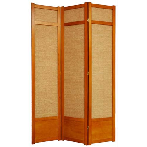 Honey Three-Panel 84-Inch Jute Shoji Screen