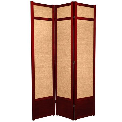 7-Foot Tall Jute Shoji Screen - 3 Panel - Rosewood