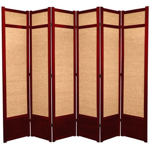 Oriental Furniture 7-Foot Tall Jute Shoji Screen - 6 Panel - Rosewood