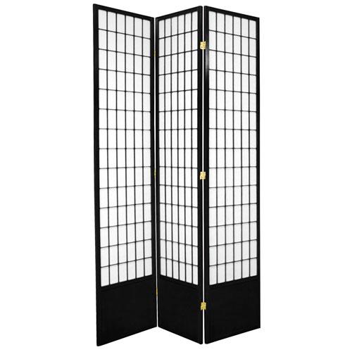 7-Foot Tall Window Pane Shoji Screen - Black - 3 Panels