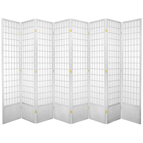 7-Foot Tall Window Pane Shoji Screen - White - 8 Panels