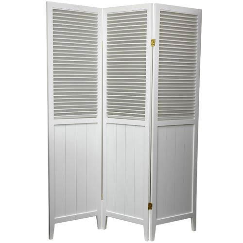 6 ft. Tall White Three Panel Beadboard Room Divider
