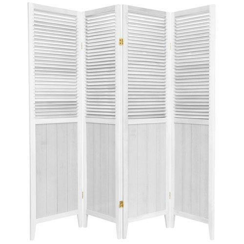 Oriental Furniture 6 ft. Tall White Four Panel Beadboard Room Divider