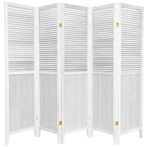 6 ft. Tall White Five Panel Beadboard Room Divider