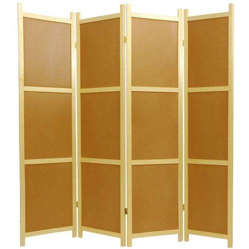 Oriental Furniture Cork Board Shoji Screen - Four Panel, Width - 68 Inches