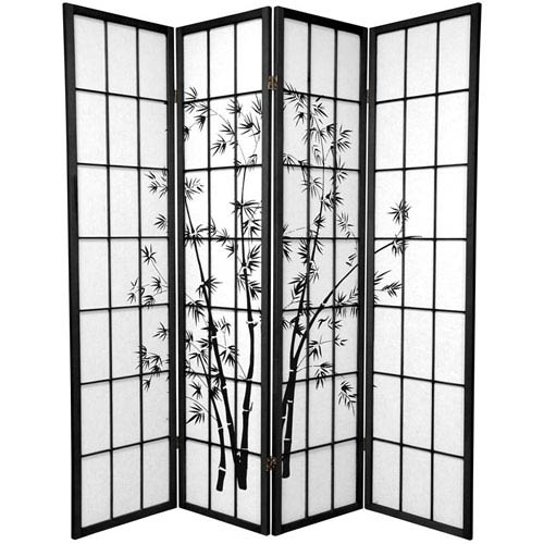 Oriental Furniture Lucky Bamboo Black Four Panel, Width - 69 Inches