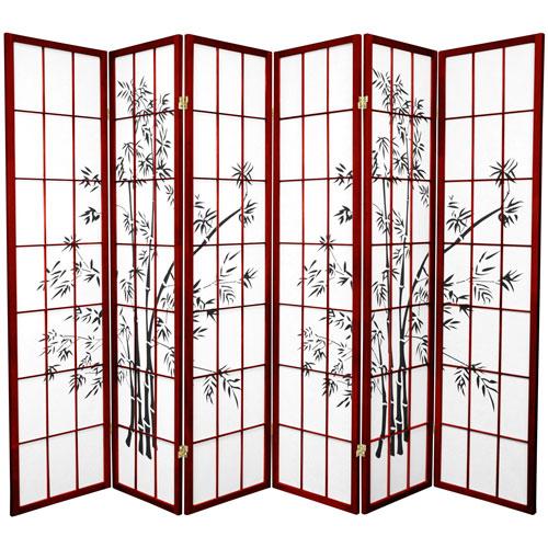 6-Foot Tall Lucky Bamboo Shoji Screen - Rosewood - 6 Panels