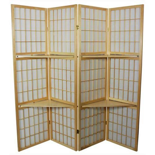 Oriental Furniture Natural 6 Foot Window Pane With Shelf Room Divider