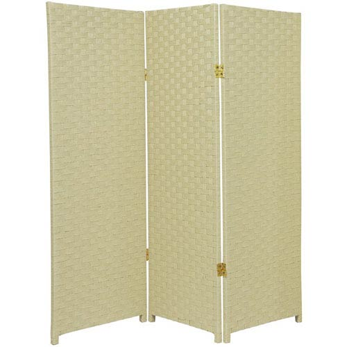 Oriental Furniture Four Ft. Tall Woven Fiber Room Divider Cream Three Panel, Width - 48 Inches