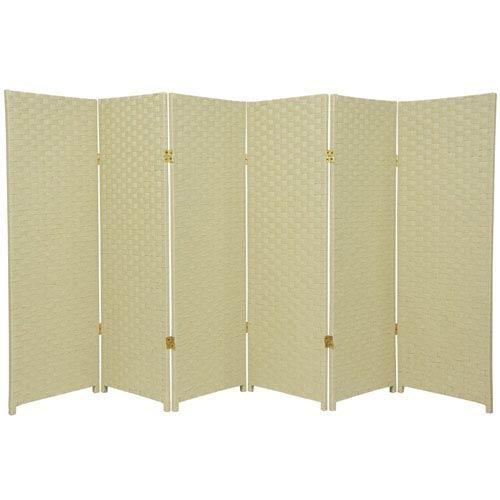 Oriental Furniture Four Ft Tall Woven Fiber Room Divider Cream Six