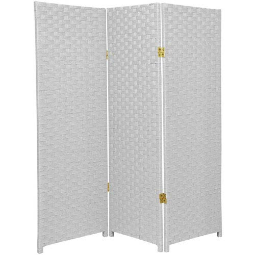 Oriental Furniture Four Ft. Tall Woven Fiber Room Divider White Three Panel, Width - 48 Inches
