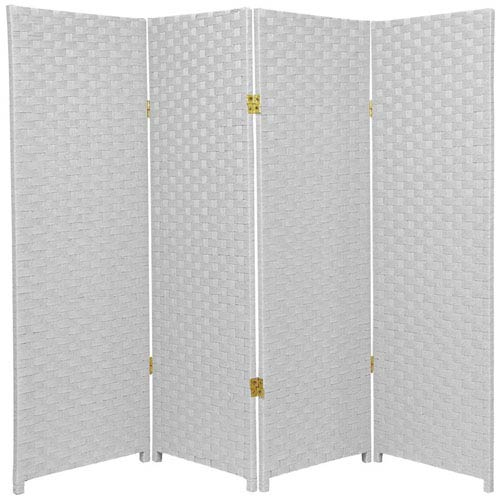 Oriental Furniture Four Ft. Tall Woven Fiber Room Divider White Four Panel, Width - 64 Inches