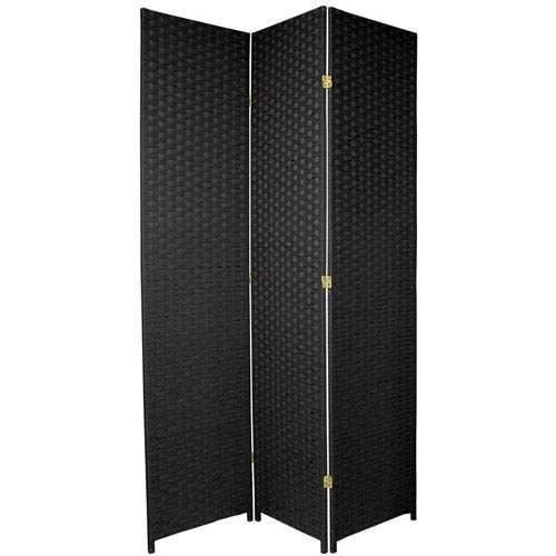 Oriental Furniture Seven Ft. Tall Woven Fiber Room Divider Black Three Panel, Width - 58.5 Inches