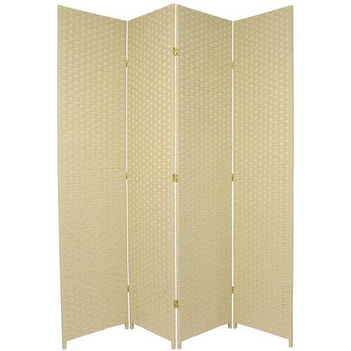 Oriental Furniture Seven Ft. Tall Woven Fiber Room Divider Cream Four Panel, Width - 78 Inches
