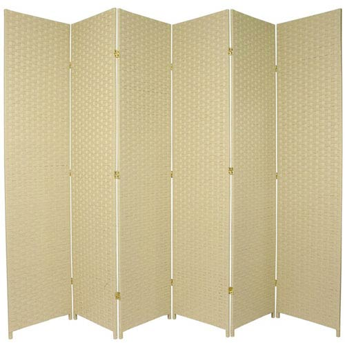 Oriental Furniture Seven Ft. Tall Woven Fiber Room Divider Cream Six Panel, Width - 117 Inches