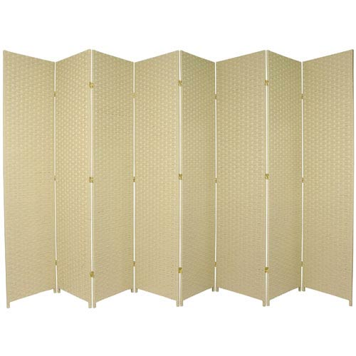 Seven Ft. Tall Woven Fiber Room Divider Cream Eight Panel, Width - 158 Inches