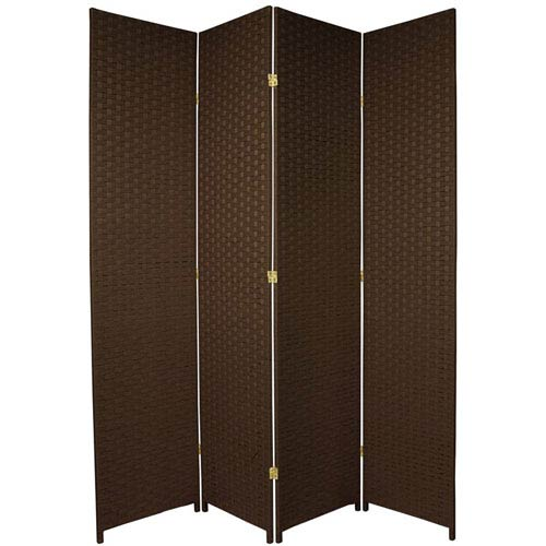 Oriental Furniture Seven Ft. Tall Woven Fiber Room Divider Dark Mocha Four Panel, Width - 78 Inches