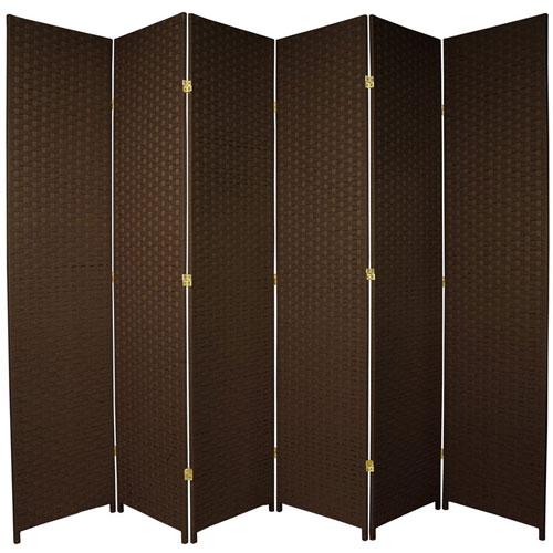 Oriental Furniture Seven Ft. Tall Woven Fiber Room Divider Dark Mocha Six Panel, Width - 158 Inches