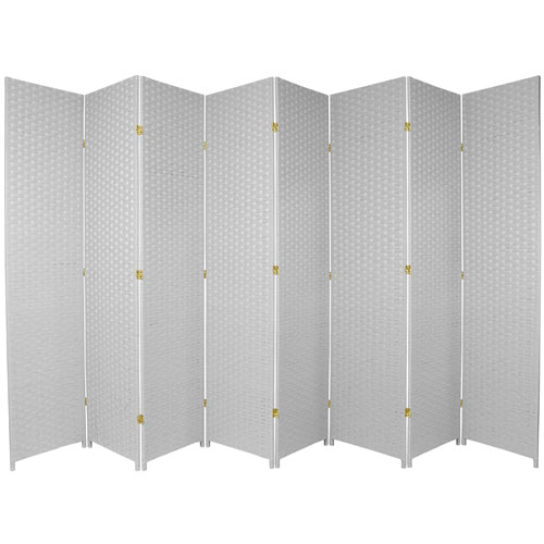 Seven Ft. Tall Woven Fiber Room Divider White Eight Panel, Width - 158 Inches