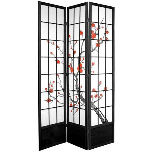 Oriental Furniture Black 7 Ft. Tall Three Panel Shoji Screen