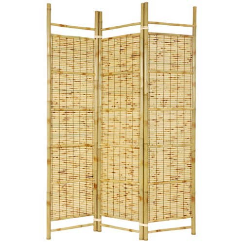 Oriental Furniture Burnt Bamboo Shoji Screen