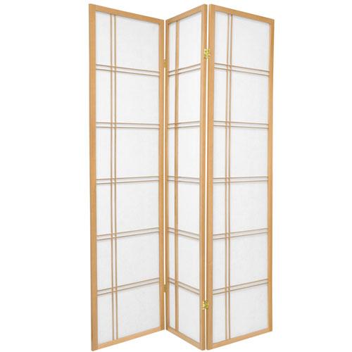 6-Foot Tall Double Cross Shoji Screen - Natural - 3 Panels