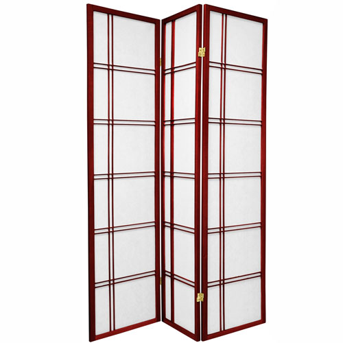 6-Foot Tall Double Cross Shoji Screen - Rosewood - 3 Panels
