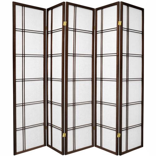 6-Foot Tall Double Cross Shoji Screen - Walnut - 5 Panels
