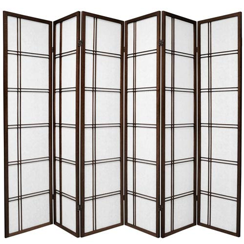 6 ft. Tall Double Cross Shoji Screen - Walnut - 6 Panels