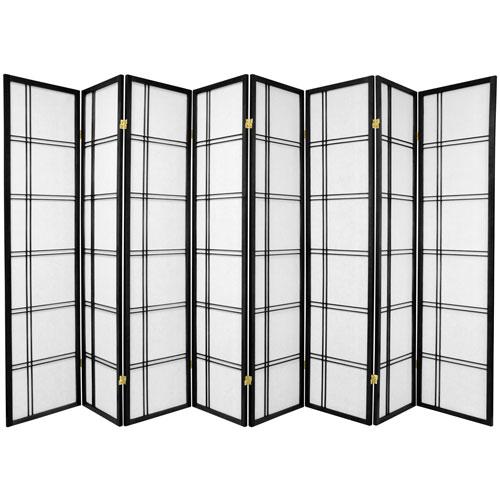 6-Foot Tall Double Cross Shoji Screen - Black - 8 Panels