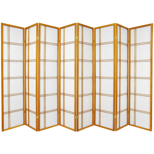 6-Foot Tall Double Cross Shoji Screen - Honey - 8 Panels