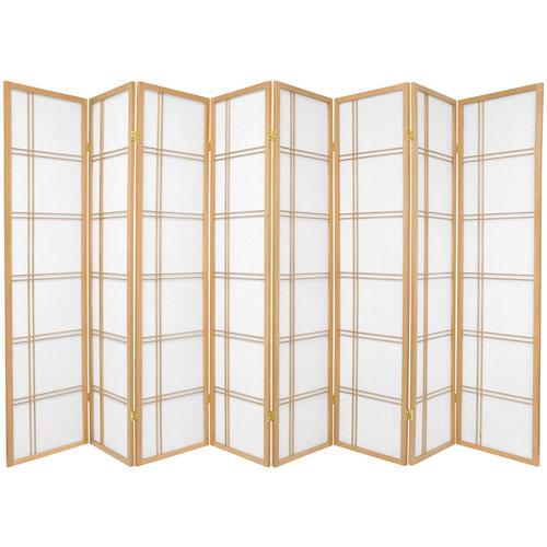 6-Foot Tall Double Cross Shoji Screen - Natural - 8 Panels