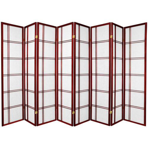 6-Foot Tall Double Cross Shoji Screen - Rosewood - 8 Panels