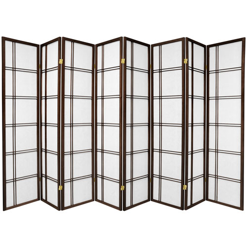 Oriental Furniture 6-Foot Tall Double Cross Shoji Screen - Walnut - 8 Panels