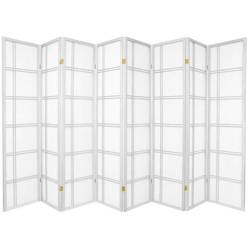 Oriental Furniture 6-Foot Tall Double Cross Shoji Screen - White - 8 Panels