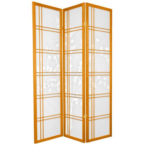 6-Foot Tall Double Cross Bamboo Tree Shoji Screen - Honey - 3 Panels