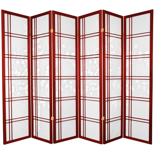 Oriental Furniture 6-Foot Tall Double Cross Bamboo Tree Shoji Screen - Rosewood - 6 Panels