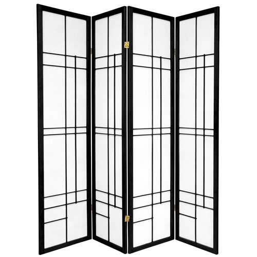 6-Foot Tall Eudes Shoji Screen - Black - 4 Panels
