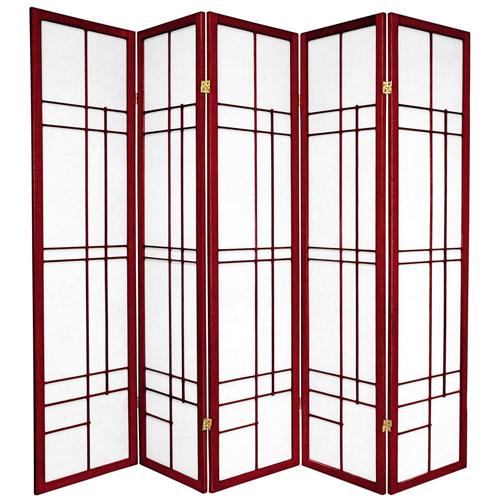 Oriental Furniture 6-Foot Tall Eudes Shoji Screen - Rosewood - 5 Panels