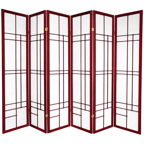 6-Foot Tall Eudes Shoji Screen - Rosewood - 6 Panels
