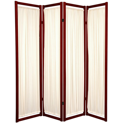 6-Foot Tall Helsinki Shoji Screen - 4 Panel - Rosewood