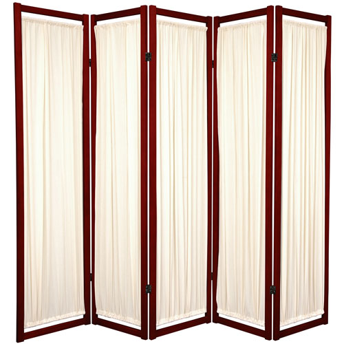6-Foot Tall Helsinki Shoji Screen - 5 Panel - Rosewood